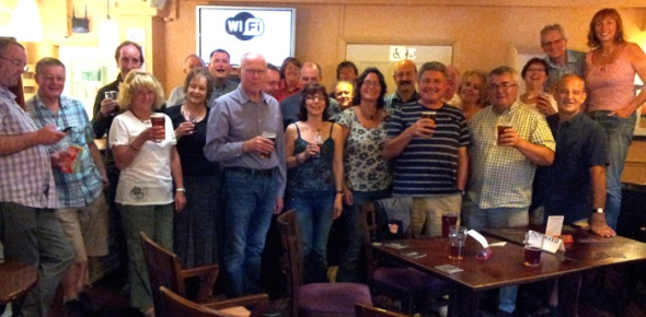 Swansea Camra members enjoying a party to celebrate the success of their 2013 beer and cider festival