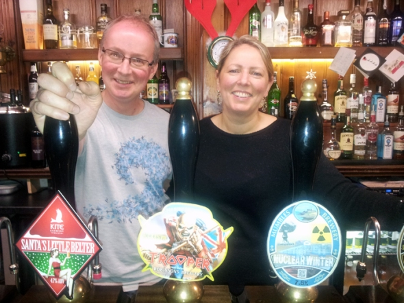Licensees of The Pilot of Mumbles, Richard and Jo Bennett.