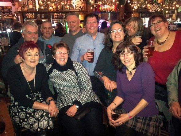 Swansea Camra members enjoying a post-Christmas walkabout of city centre pubs.