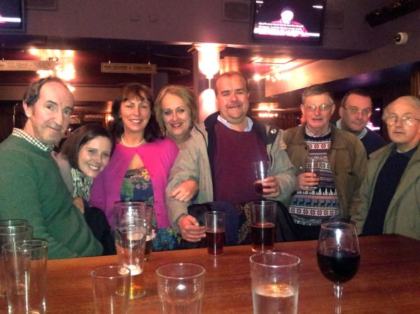 Swansea Camra members at the Bank Statement on Wind Street.
