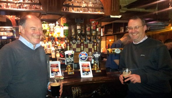 Camra members Steve Smart and Alan Watkins, who helped organise the walkabout.