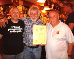 Pictured L-R, Hywel Roberts, Ancient Briton cellar manager, Ancient Briton landlord Gerald James and NPT CAMRA Sub-branch Chairman John Skinner.