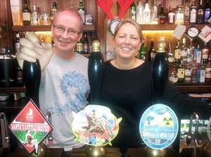 Richard and Jo Bennett, proprietors of the Pilot of Mumbles, Swansea Camra's pub of the year 2014.