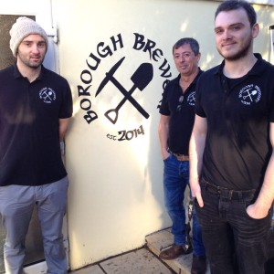 Borough Arms landlord Kevin flanked by brewers Joel and Dean.