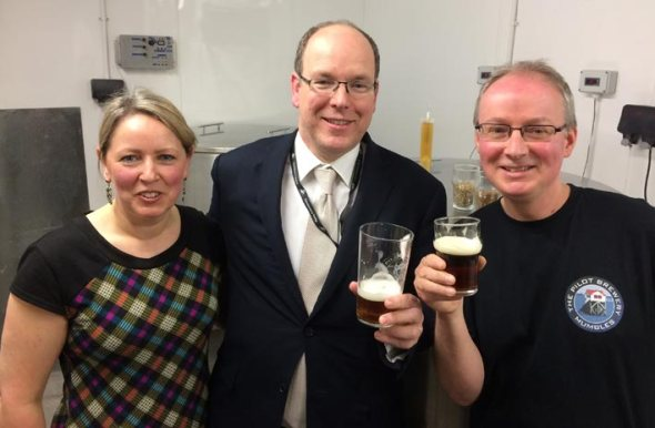 Prince Albert of Monaco with Jo and Richard Bennett at the Pilot of Mumbles.