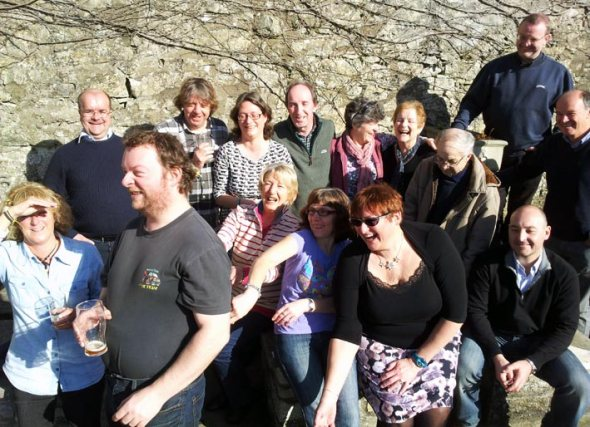 Swansea Camra members enjoying beer and sunshine at the Blue Anchor at East Aberthaw.