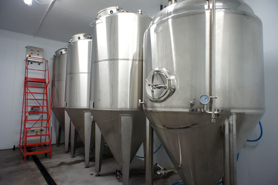 The new fermenting tanks at the Gower Brewery.