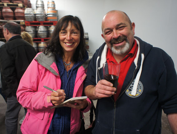 Kay Byrne from Swansea Camra interviews head brewer Dave Campbell.