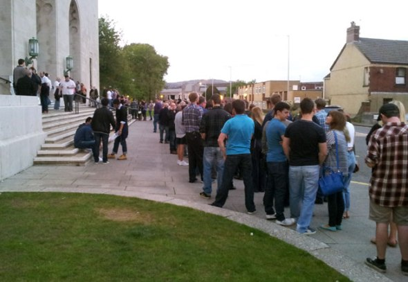 The queue to get into the Brangwyn Hall on Friday night.