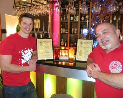 Mike Owen of Tiny Rebel and Dave Campbell of Gower Brewery receive their awards for Swansea Camra Beer of the Festival 2015.