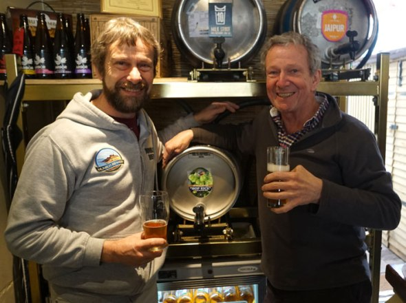 Mumbles Brewery's Rob Turner (left) with Rod Undy of Mumbles Ale.