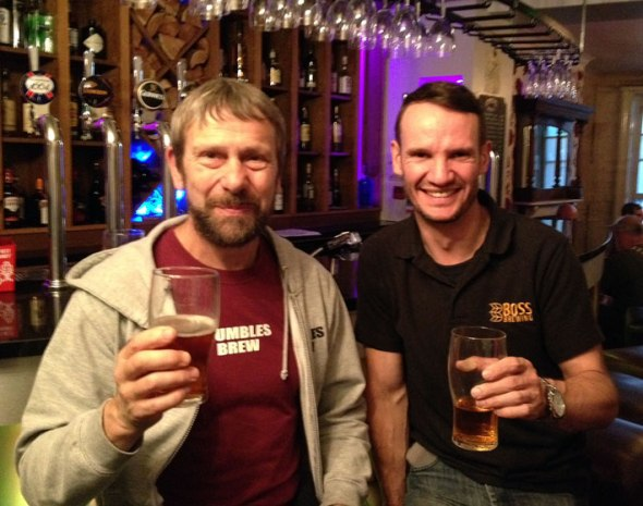 Rob Turner of Mumbles Brewery (left) and Roy Allkin of Boss Brewery raise a glass to getting their beers into the Great British Beer Festival.