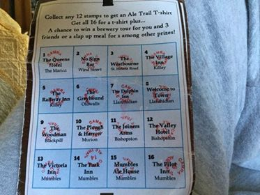 The Ale Trail card.
