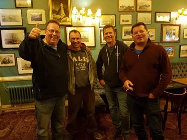 From left to right, in The Queen's Hotel, Nigel Ace, Paul Rabaiotti, Richard Baker and Robert Jenkins. Old school chums!