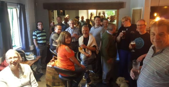 Swansea branch Camra members at their AGM at Tomos Watkin brewery.