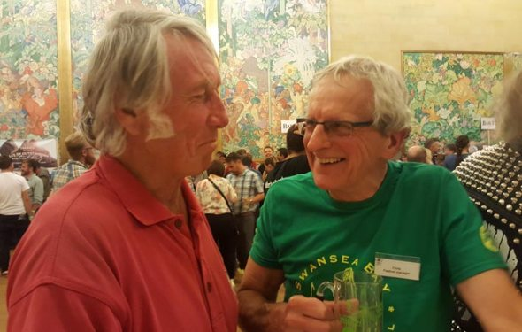 Chris Radford at the festival with JPR Williams.
