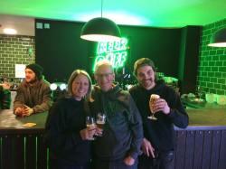 Jo and Richard Bennett, with Rhys Pillai (right)