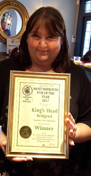 Clare Harrison of the Gower Inn with her Camra award.